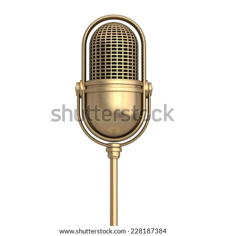 3d golden Retro microphone isolated on white background. High resolution  - stock photo