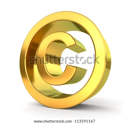 3d golden sign collection - copyright