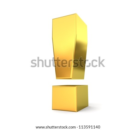 3d golden sign collection - exclamation mark - stock photo