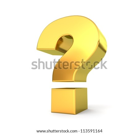 3d golden sign collection - question mark - stock photo