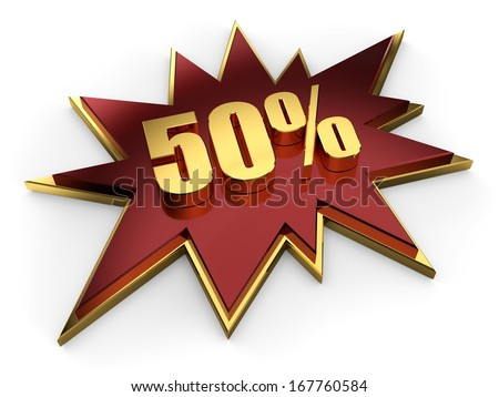 3d golden sign of fifty percent on claret red comic explosion - stock photo
