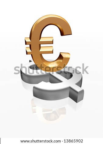 3d golden signs of euro and dollar