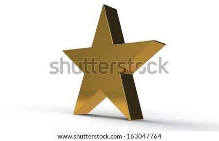 3d golden star isolated on white - stock photo