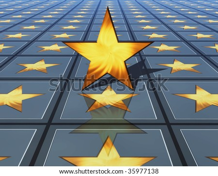 3d golden star on stars background