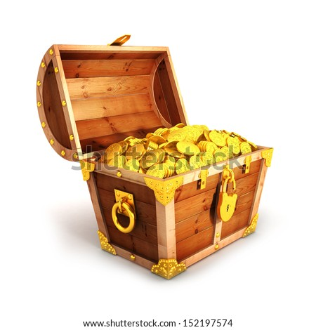 3d golden treasure chest, isolated white background, 3d image - stock photo