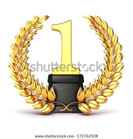 3d golden trophy and laurel  - stock photo