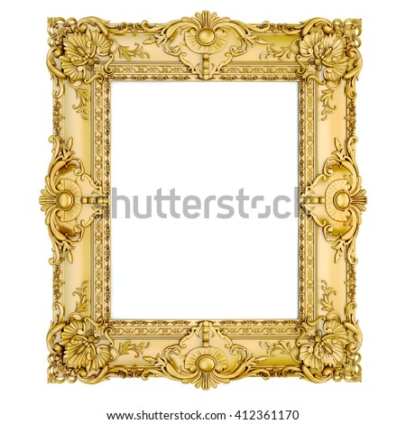 3d golden vintage classic frame on white background - stock photo