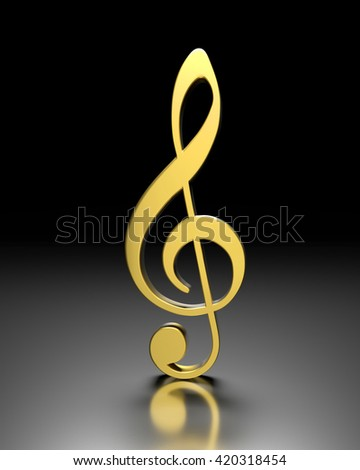 3D golden violin clef on a dark  background - stock photo