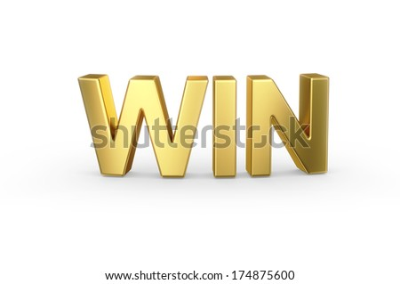 3D golden WIN word isolated with clipping path - stock photo