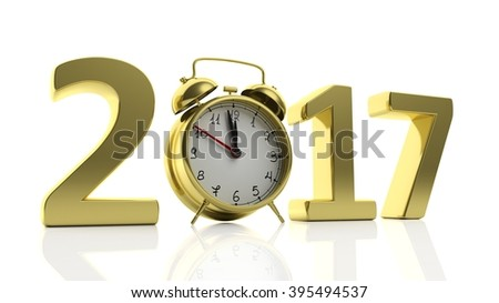 "3D golden 2017  with alarm clock as ""0"", isolated on white background."