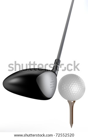 3d golf club & ball on white background