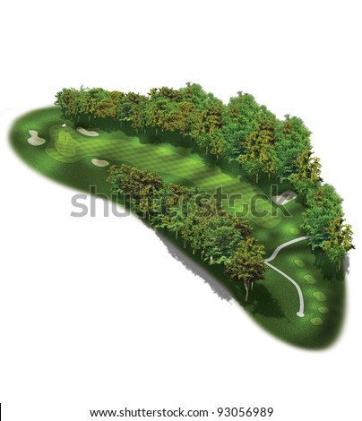 3D Golf Course Hole Layout/Three dimensional dog leg illustration - stock photo