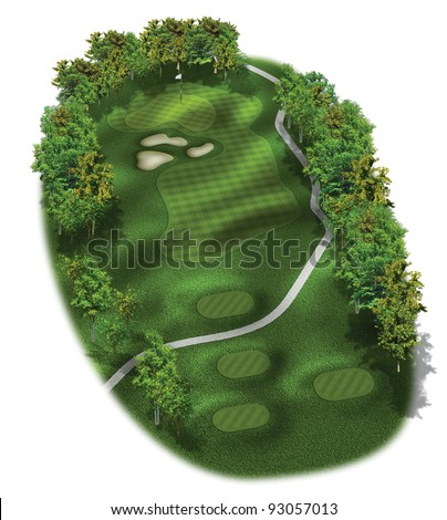 3D Golf Course Hole Layout/Three dimensional golf illustration of a par three hole - stock photo