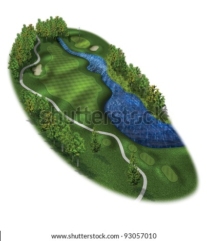 3D Golf Course Hole Layout/Three dimensional golf illustration with tees and green - stock photo