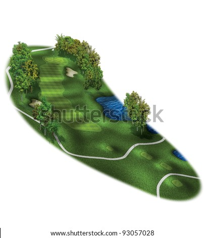 3D Golf Course Hole Layout/Three dimensional, par 4 golf illustration - stock photo