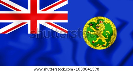 3D Government Ensign of Alderney. 3D Illustration.