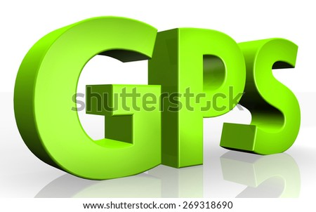 3D GPS text on white background - stock photo