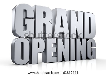 3D Grand Opening text on white background - stock photo