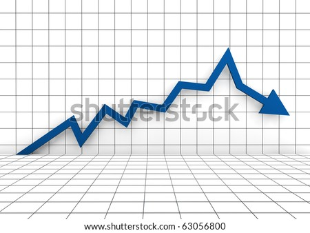 3d graph arrow blue up down isolated on white background - stock photo