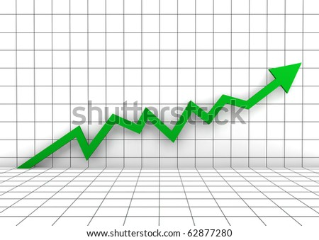 3d graph arrow green high isolated on white background - stock photo