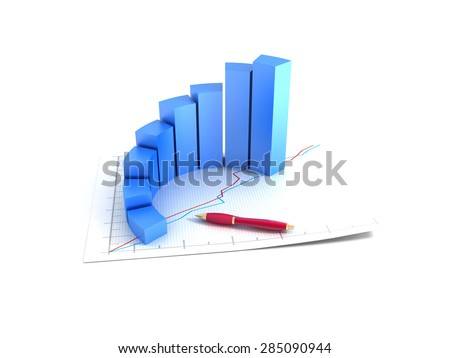 3d graph increase profits - stock photo
