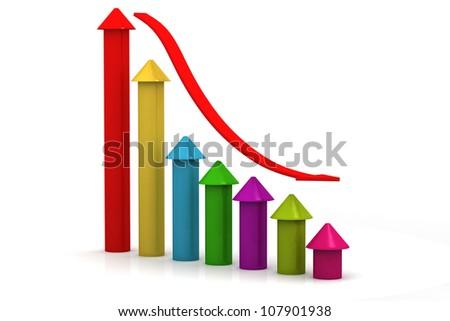 3d graph symbolizing the financial crisis - stock photo