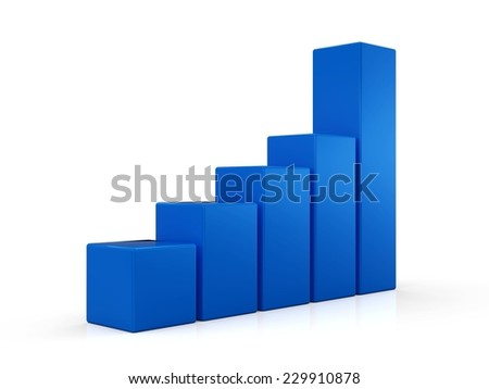3D Graph with blue columns - stock photo