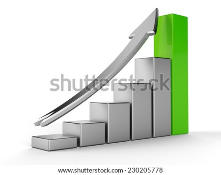 3D Graph with metalic columns and arrow - stock photo