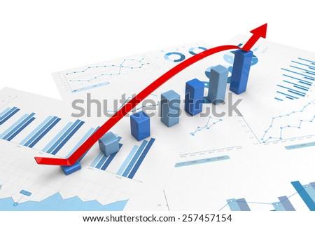 3d graph with positive growth arrow - stock photo