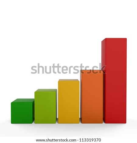 3D graphic bar chart... - stock photo