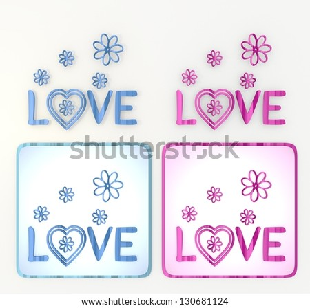 3d graphic colorful   symbol  with nice love icon - stock photo