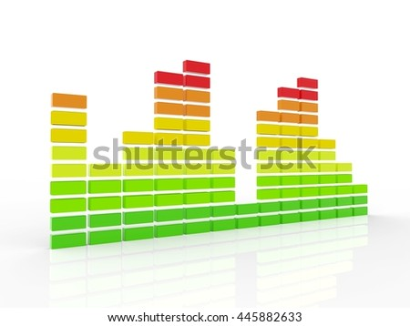 3d Graphic equalizer isolated on white