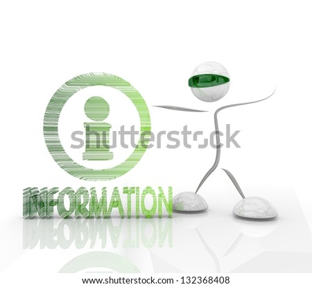 3D graphic futuristic information symbol with robot isolated on white background