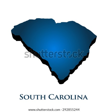 3D Graphic Map Of South Carolina State - stock photo
