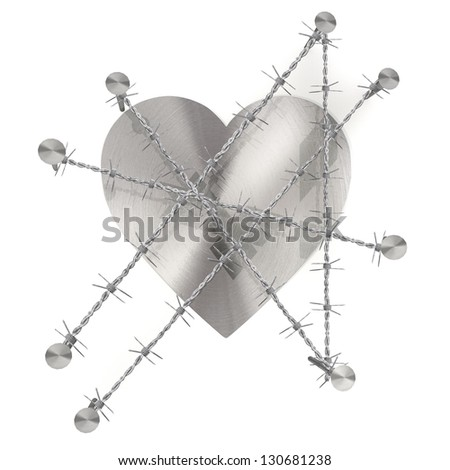 3d graphic  with razor wire arrest with barbed heart symbol - stock photo