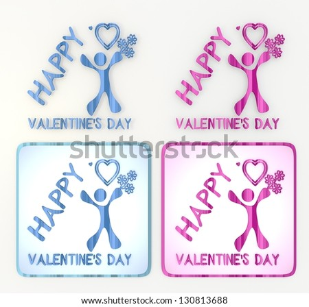3d graphicin pink and blue  symbol 3d graphic with childish happy valentines day icon - stock photo