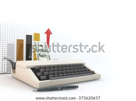 3D graphics rendering software concepts about business and finance, typewriters making money on a white background.
