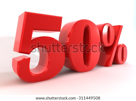 3 D graphics to display as red number percent of discounts on a white background.