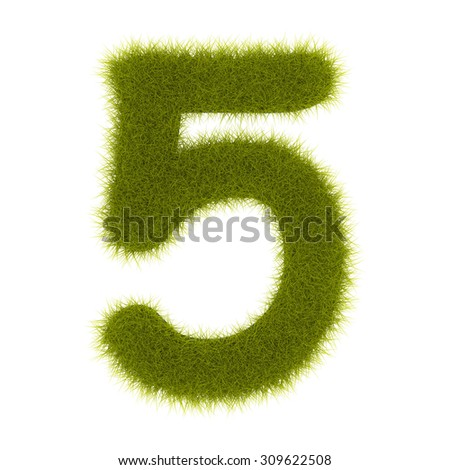 "3d Grass digit ""five"""