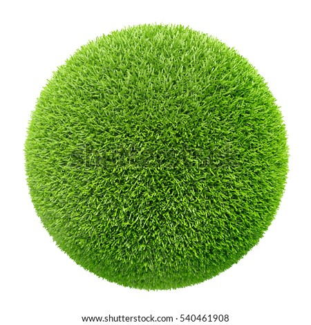 3d grass sphere on white background