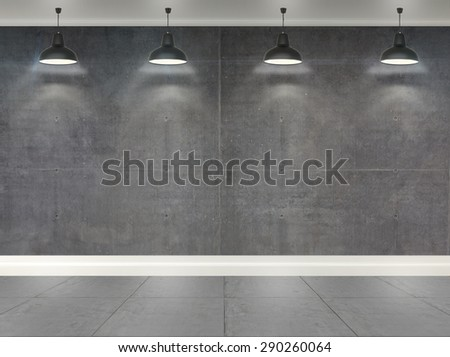 3d gray concrete wall  room with ceiling lamp - stock photo