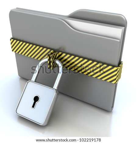 3D gray folder and lock. Data security concept. - stock photo