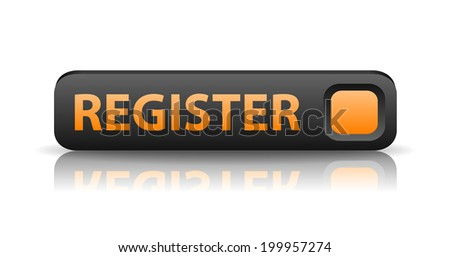3D gray web button with orange sign register and reflection (raster version, available as vector too) - stock photo