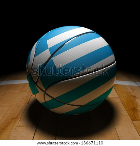 3D Greece basket ball with dramatic light on basketball court. - stock photo