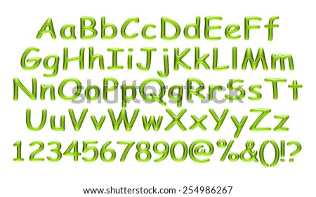 3D green alphabets big and small with numbers on isolated white background.