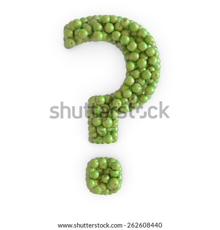 3d green apples question mark - stock photo