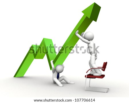 3d green arrow up in business graph - stock photo