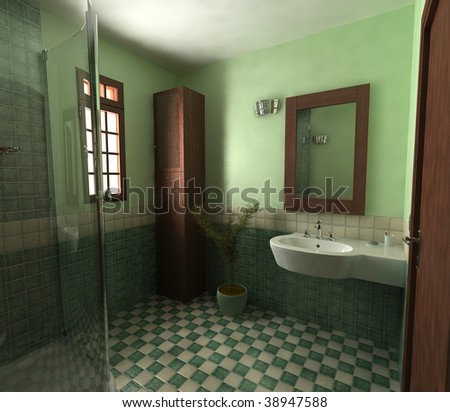 3d Green Bathroom
