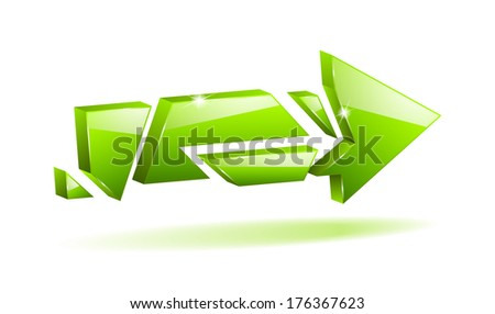 3D green broken arrow pointer with reflection (raster version, available as vector too)