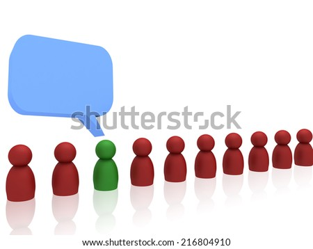 3d green character speaking - stock photo
